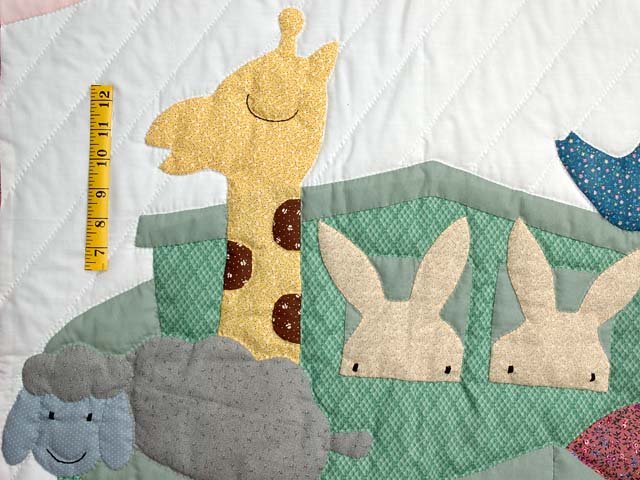 Pink and Pastel Noahs Ark Crib Quilt Photo 3