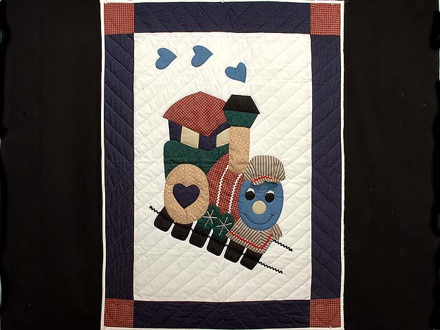 Navy and Red Thomas Train Crib Quilt Photo 1