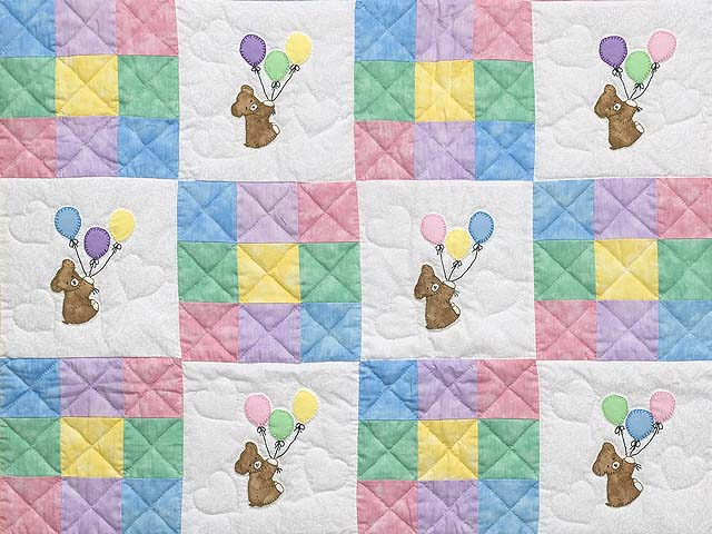 Pastel Nine Patch Party Bears Crib Quilt Photo 2