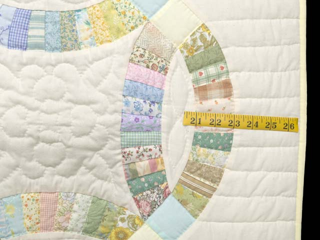 Fine Pastel Double Wedding Ring Crib Quilt Photo 6