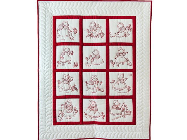 Embroidered Redwork Crib Quilt Photo 1