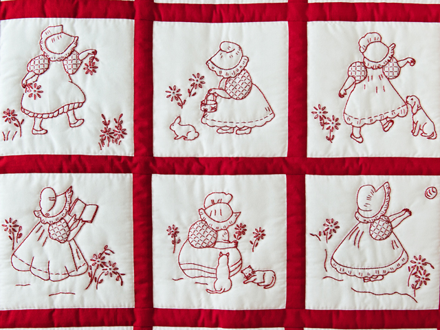 Embroidered Redwork Crib Quilt Photo 2