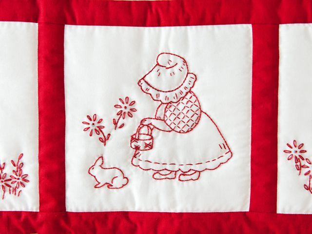 Embroidered Redwork Crib Quilt Photo 3