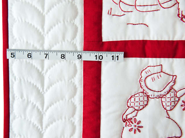 Embroidered Redwork Crib Quilt Photo 5