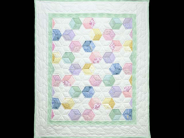 Green and Pastels Tumbling Blocks Crib Quilt Photo 1