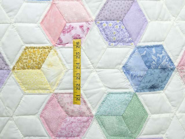 Green and Pastels Tumbling Blocks Crib Quilt Photo 3