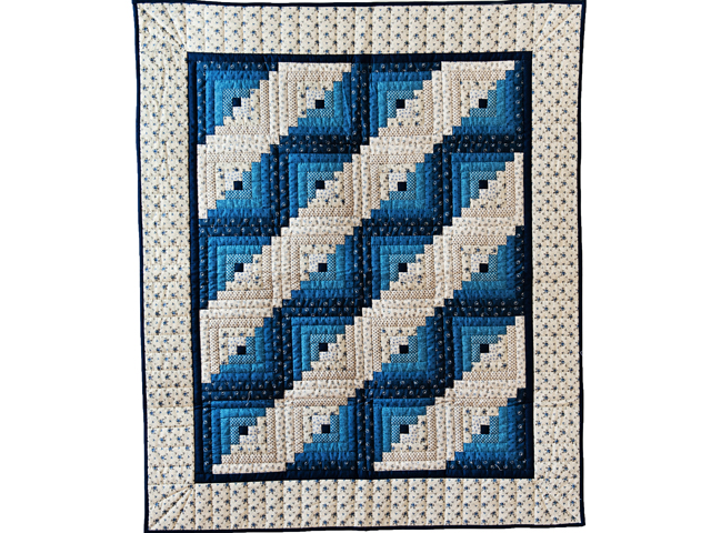 Navy and Blue Log Cabin Crib Quilt Photo 1