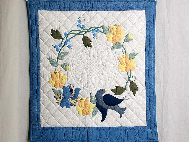 Blue and Yellow Vines and Roses Wall Hanging Photo 1