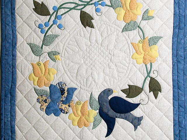 Blue and Yellow Vines and Roses Wall Hanging Photo 2