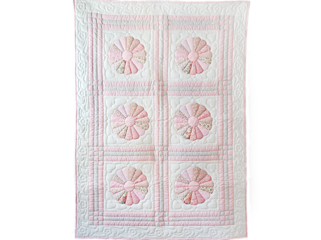 Soft Pink and Gray Dresden Plate Crib Quilt Photo 1