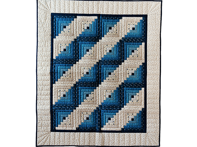Navy Log Cabin Crib Quilt Photo 1