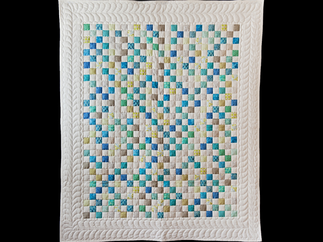 Blue, Green, Gray and White Little Blocks Crib Quilt Photo 1