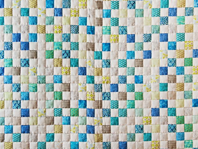 Blue, Green, Gray and White Little Blocks Crib Quilt Photo 2