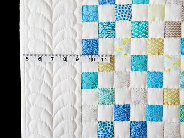 Blue, Green, Gray and White Little Blocks Crib Quilt Photo 3