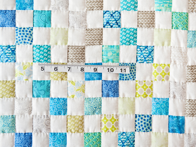 Blue, Green, Gray and White Little Blocks Crib Quilt Photo 4