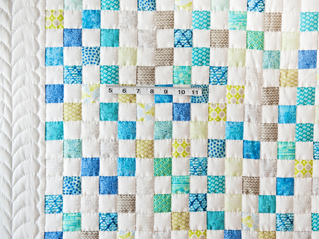 Blue, Green, Gray and White Little Blocks Crib Quilt Photo 5