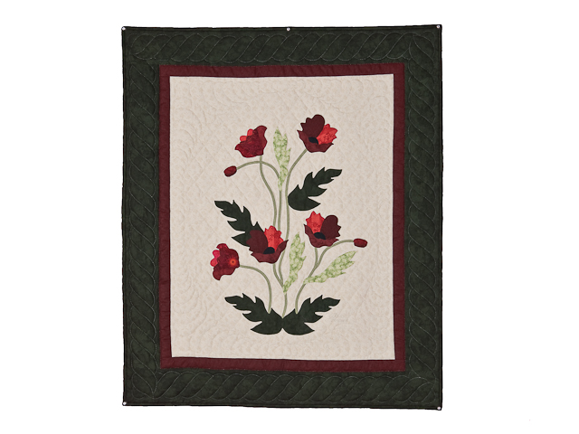 Dark Green and Crimson Poppy Fields Wall Hanging Photo 1