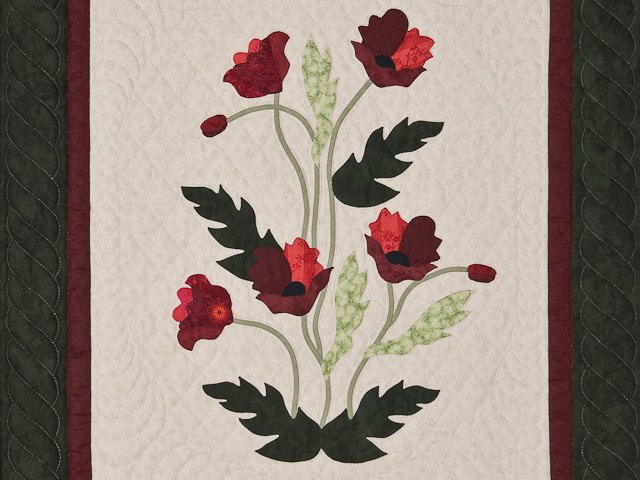 Dark Green and Crimson Poppy Fields Wall Hanging Photo 2