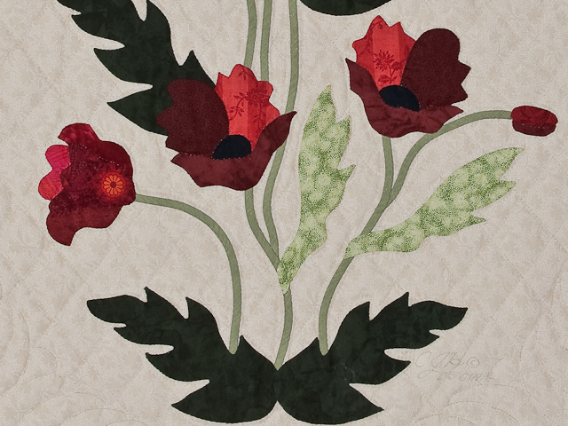 Dark Green and Crimson Poppy Fields Wall Hanging Photo 3