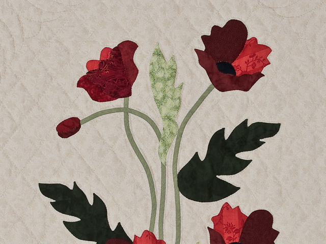 Dark Green and Crimson Poppy Fields Wall Hanging Photo 4
