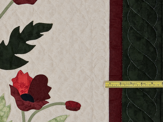 Dark Green and Crimson Poppy Fields Wall Hanging Photo 6