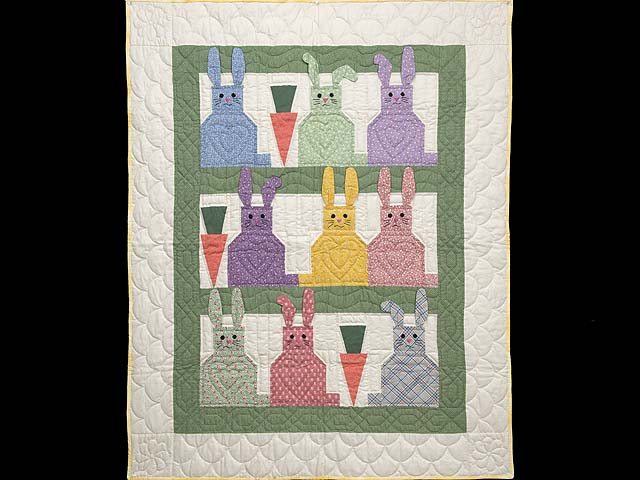 Green and Multicolor Floppy Eared Bunnies Crib Quilt Photo 1