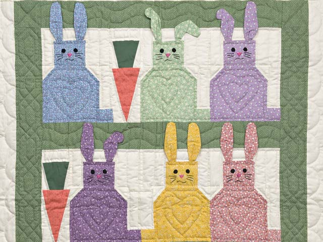 Green and Multicolor Floppy Eared Bunnies Crib Quilt Photo 2