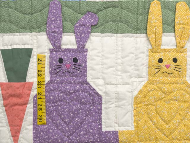 Green and Multicolor Floppy Eared Bunnies Crib Quilt Photo 3