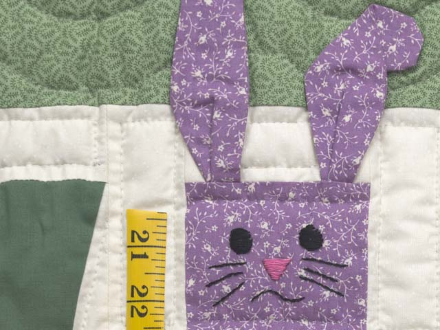 Green and Multicolor Floppy Eared Bunnies Crib Quilt Photo 4