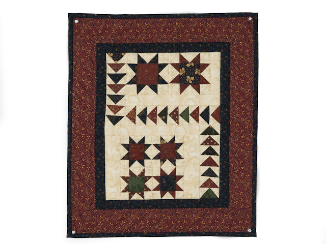 Flying Geese in the Stars  miniature wall quilt  burgundy, navy, green, and cream Photo 1