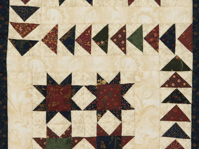 Flying Geese in the Stars  miniature wall quilt  burgundy, navy, green, and cream Photo 2