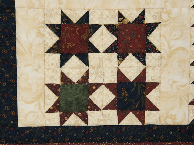 Flying Geese in the Stars  miniature wall quilt  burgundy, navy, green, and cream Photo 3