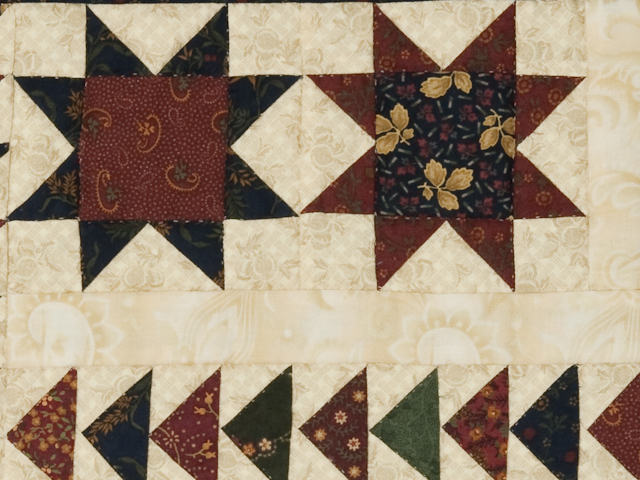 Flying Geese in the Stars  miniature wall quilt  burgundy, navy, green, and cream Photo 4