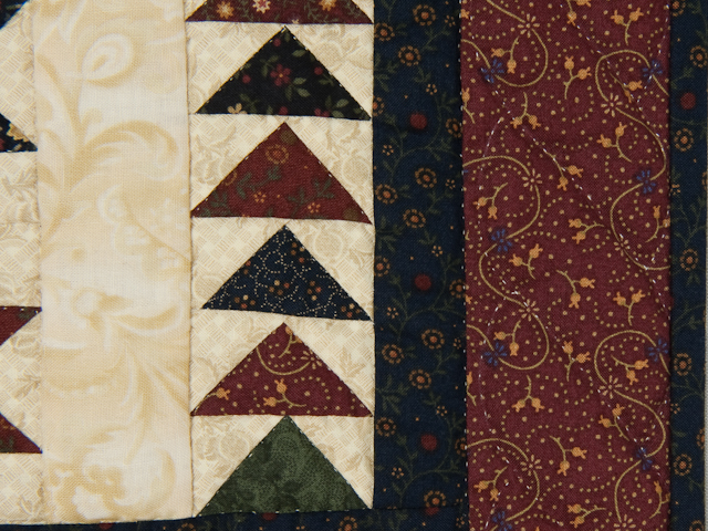 Flying Geese in the Stars  miniature wall quilt  burgundy, navy, green, and cream Photo 5