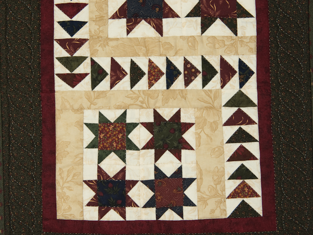 Flying Geese in the Stars  miniature wall quilt   green, burgundy, na Photo 2