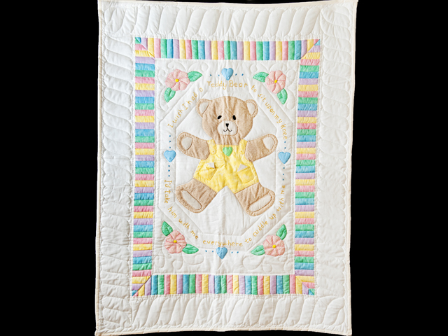Pastel Embroidered Teddy Bear Crib Quilt Photo 1