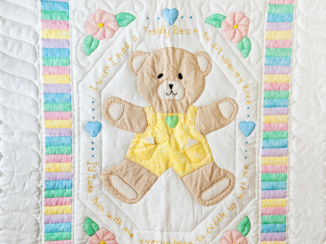 Pastel Embroidered Teddy Bear Crib Quilt Photo 2