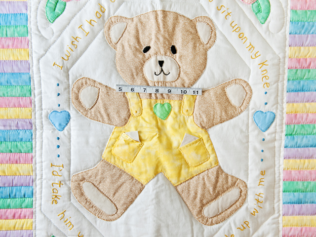 Pastel Embroidered Teddy Bear Crib Quilt Photo 3