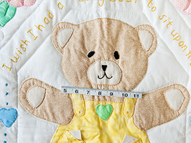Pastel Embroidered Teddy Bear Crib Quilt Photo 4