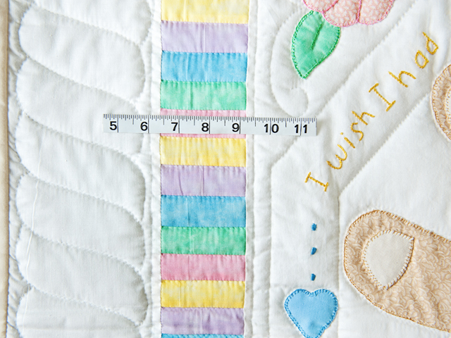 Pastel Embroidered Teddy Bear Crib Quilt Photo 5
