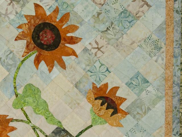 Sunflower Mountain - New Design Patchwork, Hand Applique, Hand Quilt Photo 4