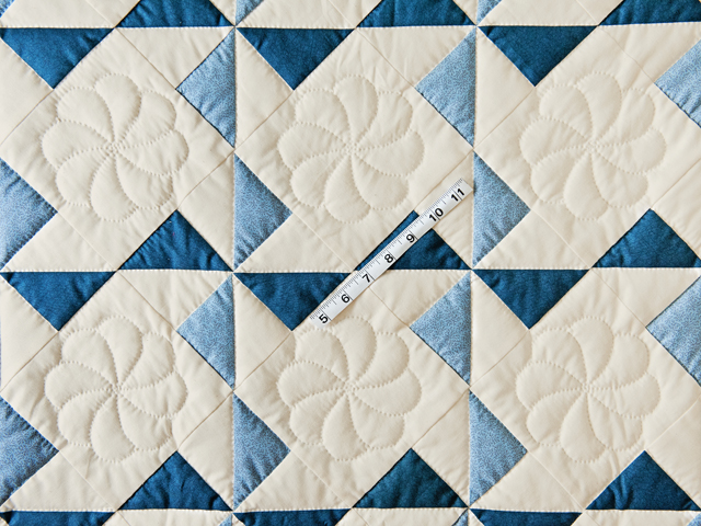 Blue, Navy and Natural Pinwheel Crib Quilt Photo 3