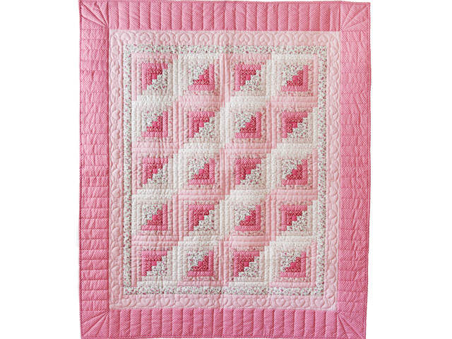 Pretty Pink Log Cabin Crib Quilt Photo 1