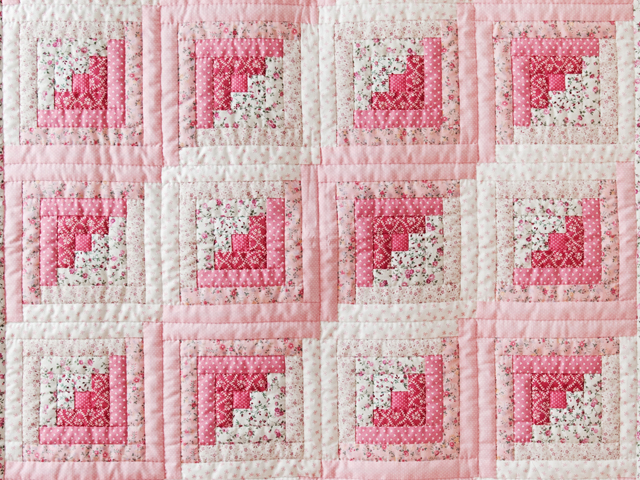 Pretty Pink Log Cabin Crib Quilt Photo 2
