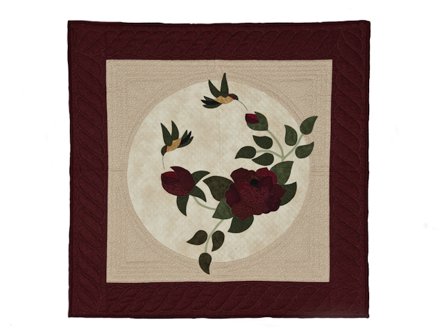 I Promised You a Rose Garden  Burgundy and Neutral wall quilt Photo 1