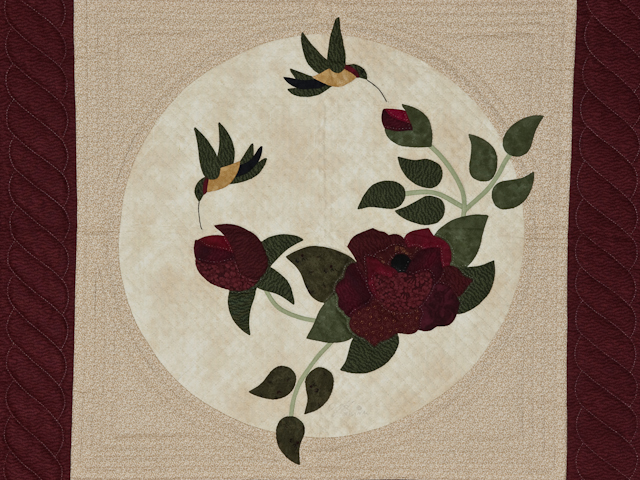 I Promised You a Rose Garden  Burgundy and Neutral wall quilt Photo 2