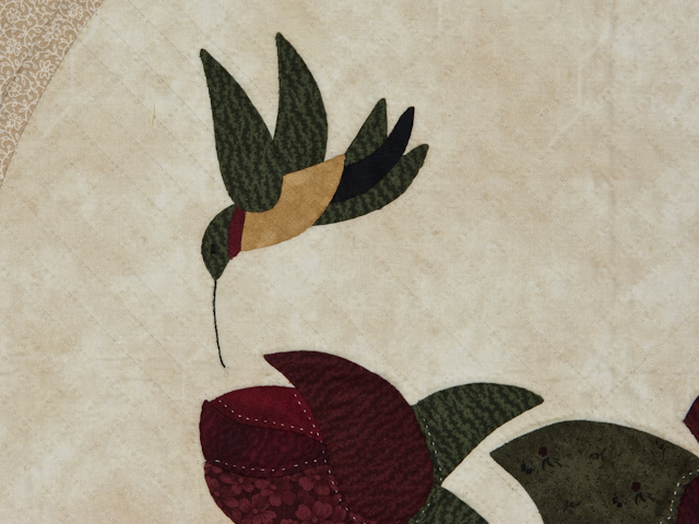 I Promised You a Rose Garden  Burgundy and Neutral wall quilt Photo 3