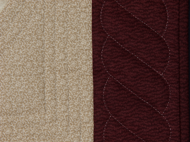 I Promised You a Rose Garden  Burgundy and Neutral wall quilt Photo 5