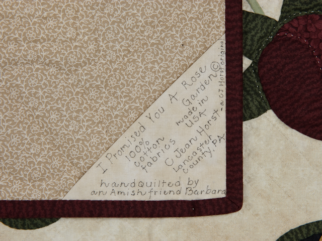 I Promised You a Rose Garden  Burgundy and Neutral wall quilt Photo 6