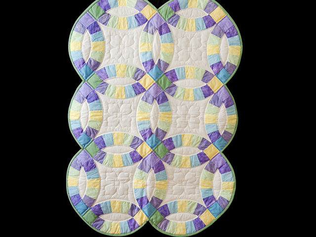 Purple, Pastel and White Wedding Ring Crib Quilt Photo 1